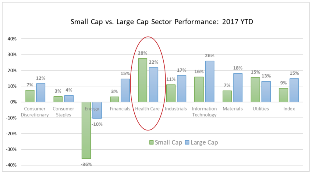 This table shows that health care has been the best stock market sector of 2017.
