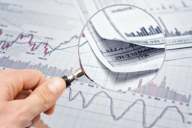 magnifying glass stock chart