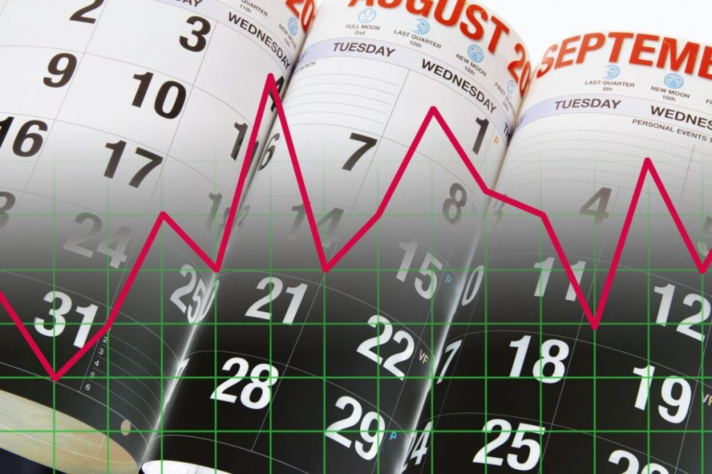 calendar pages red line chart