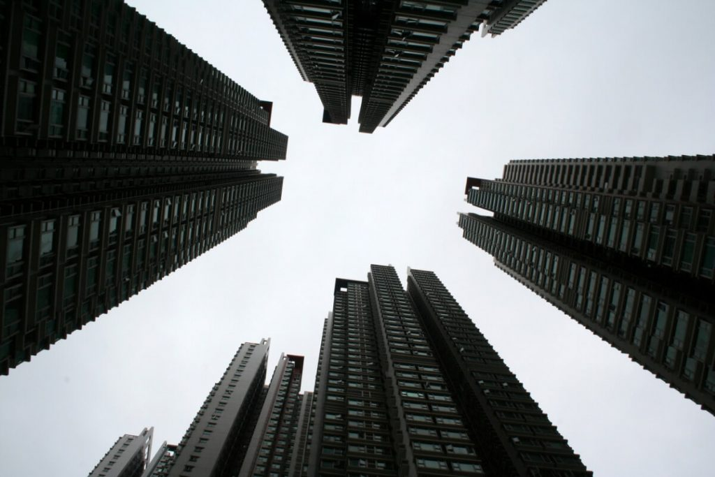 Residential apartment blocks converging in the center