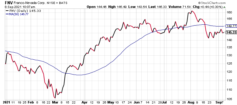 Franco-Nevada (FNV) is one of the best-performing silver stocks.