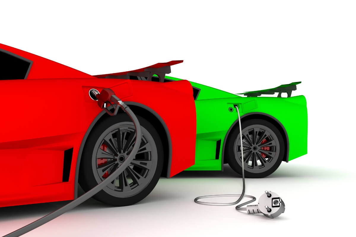 red and green electric and gas cars