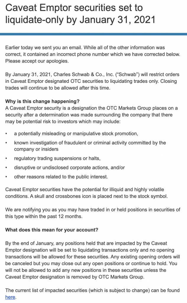 Schwab and others will no longer allow their clients to buy dark stocks.