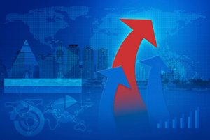 red and blue arrow heads with Financial chart and graphs on city background