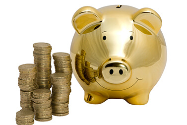 gold piggy back and coins