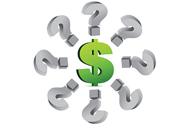 green dollar sign surrounded by cirlcle of question marks