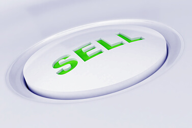 white plastic button with a word sell in green