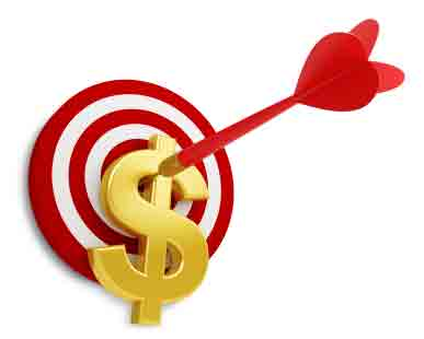 red arrow hitting target through gold dollar sign