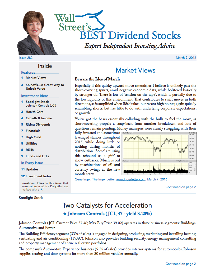 Wall Street's Best Dividend Stocks Issue